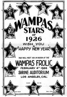WAMPAS Baby Stars of 1926 Mary Astor, Mary Brian, Joyce Compton, Dolores Costello, Joan Crawford, Marceline Day, Dolores del Río, Janet Gaynor, Sally Long, Edna Marion, Sally O'Neil, Vera Reynolds, Fay Wray