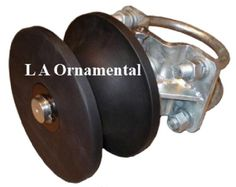 """Heavy Duty Cantilever Gate Wheel Hard Plastic Full 7"""" Diameter - Steel 23/8"""" Gate Frame to 4"""" Round Post Includes Protective Cover Cast Iron Hot Dip Galvanized"""