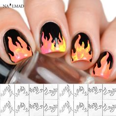 1 sheet Fire Nail Vinyls Stencil Hollow Stickers Fires on Manicure Stencil Stickers  #Affiliate