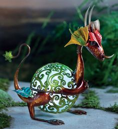 Baby Dragon Garden Statue with glowing solar ball - spectacular!
