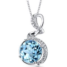 London Blue Topaz Diamond Pendant White Gold Swirl Design 29 Carats >>> Find out more at the image link. Blue Topaz Diamond, Topaz Gemstone, Jewelry Stores, Jewelry Sets, Jewelry Watches, White Necklace, Blue Gemstones, London Blue Topaz, Swarovski Jewelry
