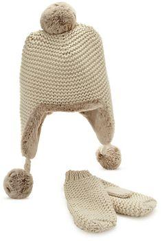 Chunky Trapper Hat & Mittens Set (Older Girls)