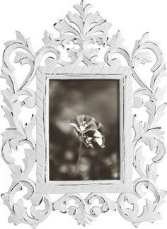 Bilderrahmen aus Holzwerkstoff in der Farbe Weiß. B/H: ca. 12,5/17,5cm.