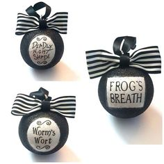 Jack Skellington Nightmare Before Christmas Potion Tree Baubles/Decorations - set of 3 choose your glitter colour Halloween Christmas Tree, Nightmare Before Christmas Ornaments, Noel Christmas, Disney Christmas, Christmas Baubles, Xmas Tree, Christmas Crafts, Black Christmas Trees, Halloween Ornaments