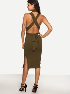 Army+Green+Sleeveless+Criss+Cross+Back+Dress+12.99