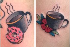 Coffe and doughnut tattoo done by Carrie Daniels