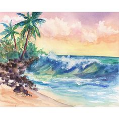 Crashing Waves at Sunrise 8x10 print from Kauai Hawaii blue green teal... ($26) ❤ liked on Polyvore featuring home, home decor, wall art, beach wall art, tropical paintings, tropical palms, beach paintings and beach scene painting