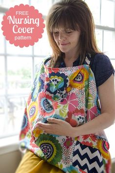 Free Nursing Cover pattern. I love that it has a pocket! #free #sewing #pattern #baby