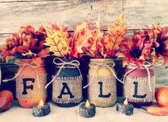 Fall Mason Jars set of 4 Distressed mason jars, pint or Quart sized mason jar. What a fabulous way to decorate for fall. This is for 4 rustic fall mason jars. Great for seasonal decor or wedding centerpieces! Choose your siz Deco Haloween, Halloween Crafts, Holiday Crafts, Halloween Decorations, Autumn Decorations, Baby Fall Crafts, Fall Leaves Crafts, Fall Festival Decorations, Table Decorations