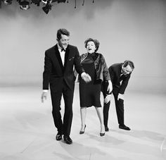 Judy Garland, Frank Sinatra, and Dean Martin cracking up in rehearsal for The Judy Garland Show - 1962