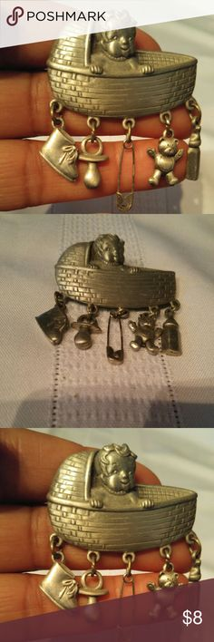 Baby crib brooch Large baby in crib brooch with baby item charms. Jewelry Brooches