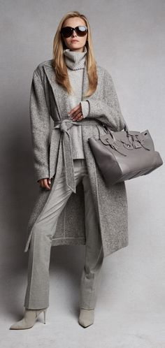 Ralph Lauren Fall 2015 shades of light grey women's fashion
