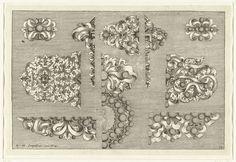 Josef Friedrich Leopold   Elf ontwerpen voor juwelen, Josef Friedrich Leopold, David Baumann, 1695   De meeste ontwerpen zijn slechts voor de helft weergegeven. Blad 13 uit serie van 17 bladen.