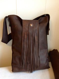 Hand Crafted Large Leather Tote on Luulla Fringe Handbags, Fringe Bags, Leather Purses, Leather Handbags, Leather Bags, Leather Backpacks, Leather Totes, Handmade Handbags, Handmade Bags