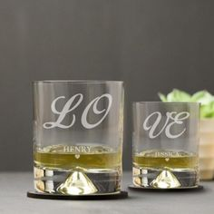 Engraved Dimple Base Tumbler Set - Love