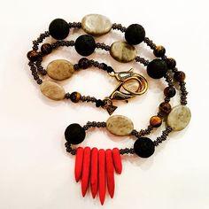 Handmade one of the kind natural gemstone tribal soul necklace #hippieCHIC  #MAgne #makers #artists #designers #inspiration #handmade #madeinireland #unique #tribal #gemstones #lavastone #redcoral #tygerseye #soul #spirit #meditation #travels #toinspire #handmadejewellery #lovelife #neverstop