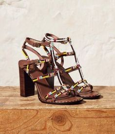 2c75060644860 Ash LIZA Beaded Heeled Sandals in Brown Suede   Studs