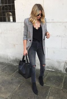Blazer, ripped skinny jeans and subtle lace cami