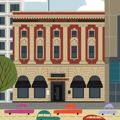 Union Bank Inn - Edmonton Landmark art print, home decor  Edmonton landmark art print with a unique Mid-Century / Folk Art take. A perfect Edmonton gift idea for any city lover or that poor soul that is leaving town. Purchase on www.snowalligator.com  Illustration by local artist Jason Blower  #yeg #yegart #yegwallart #wallart #EdmontonArt #edmontongift #yeggift #snow_aligator #charmingart #cuteart #midCentury #Folkart #cuteart #charmingart #edmontonartist