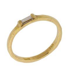 Art Deco Baguette Cut Diamond Solitaire Ring in 18k Yellow Gold. $476.00, via Etsy.