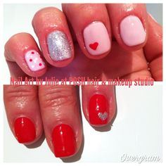 My CND Shellac nail art creations for Valentine's Day.