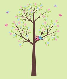 Tree and Love Birds Wall Decals-Fabric Tree Wall Decal with Birds, kids room wall decals, nursery decor, childrens decal stickers   Bebe Diva