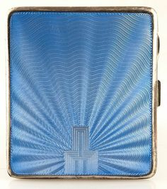 Art Deco Sterling & Blue Guilloche Enamel Cigarette Case - Sublime