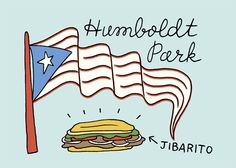 Humboldt Park and a Jibarito — detail from a custom love map.