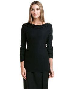 Magaschoni Holiday Black Jewel Embellished Top