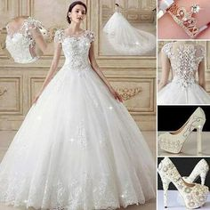 Nice Weeding Dress with Perfect Combination. Perfect Wedding Dress, White Wedding Dresses, Wedding Dress Styles, Elegant Wedding, Wedding Bride, Bridal Dresses, Wedding Gowns, Lace Wedding, Outfit Chic
