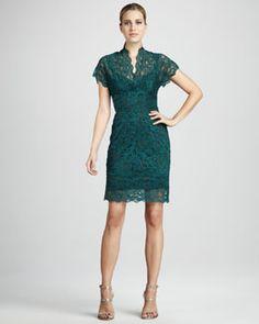 T5DKD Nicole Miller Stretch-Lace Dress