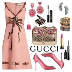 """""""Gucci Pink Dragonfly Dress"""" by deborah-calton ❤ liked on Polyvore featuring Gucci, Annoushka, Kre-at Beauty, Givenchy, NARS Cosmetics and Essie"""