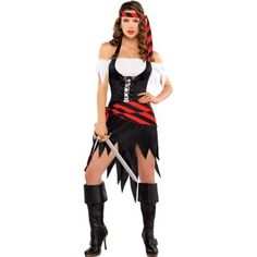 Look like a million doubloons with Rogue Maiden Pirate Costume! Adult Rogue Maiden Pirate Costume features a black corset, headscarf and matching sash. Female Pirate Costume, Pirate Halloween Costumes, Cool Costumes, Halloween Outfits, Adult Costumes, Costumes For Women, Costume Ideas, Diy Pirate Costume For Women, Halloween Party