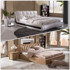Modern Leather White and Tan bed will revitalize your bedroom with its contemporary chicness.