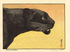 Toshi Yoshida: Panther - estampes shin-hanga - 1987