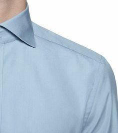 ERMENEGILDO ZEGNA: Chemise classique - Couture Toile Col Classique Poignets avec deux  Bleu ciel, Détail 2 - 38352723IO