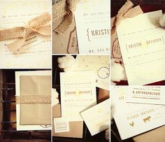burlap wedding invitation