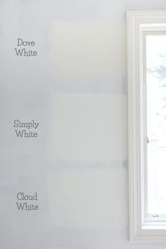 The best whites compared - Benjamin Moore Dove White versus Simply White vs. Cloud White paint colors (simply white for upstairs) Best White Paint, White Paint Colors, White Paints, White Wall Paint, Interior Paint Colors For Living Room, Paint Colors For Home, House Colors, Interior Painting, Benjamin Moore Cloud White