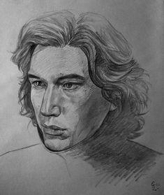Pencil drawing of Kylo Ren. Drawing Sketches, Pencil Drawings, Art Drawings, Sketching, Star Wars Drawings, Star Wars Kylo Ren, Adam Driver, Star Wars Episodes, Star Wars Art