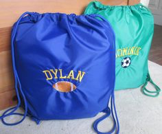 Our cinch sacks are perfect for athletes of all ages. Our cinch sack is light weight, durable, and available in 14 colors. This will be the go to bag for shoes, uniforms, towels, and other accessories. Personalized with your choice of sports designs and embroidered with a monogram or name. You design it -- We create it! Match team colors or just pick your favorites.  Featured cinch bags are Royal and Kelly Green with the Varsity font and Yellow Thread.   Please specify the following when…