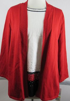 NEW Alfred Dunner Sweater Pullover Medium Red Black White Silver Accents 3/4 Slv #AlfredDunner #Cardiganattachedpulloversweater #Christmas