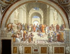 "Artist: Raphael Location: Apostolic Palace, Vatican City Created: 1509 Subject: Ancient Greece Dimensions: 16'5"" x 25'3""  The School of Athens depicts some of the most famous philosophers of all time grouped together and sharing their ideas. The level of interaction in this painting had never been done before. The painter, Raphael, was a Italian Renaissance artist who also painted part of the Vatican."