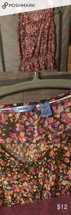 Med Izod Floral Tank Beautiful lace and Floral dress Tank with a cinched waist Izod Tops Tank Tops