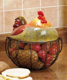 Rooster egg or food holder wire basket primitive french country  $19.00