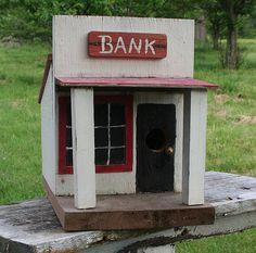 Vintage Homemade Folk Art Birdhouse Bank Birdhouse by PastClassics