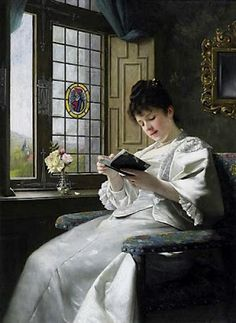 Ernst Anders (1845-1911), reading young woman in a white silk dress by the window overlooking the castle gardens.