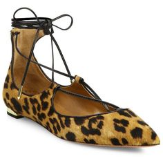 Aquazzura Christy Calf Hair Lace-Up Flats ($895) ❤ liked on Polyvore featuring shoes, flats, apparel & accessories, caramel leopard, pointy toe ankle strap flats, pointed-toe ankle-strap flats, leopard print pointed toe flats, leopard print shoes and ankle wrap flats