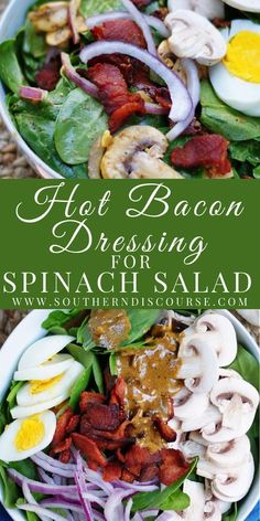 Warm Spinach Salads, Simple Spinach Salad, Bacon Spinach Salad, Spinach Salad Recipes, Baby Spinach, Warm Salad Recipes, Cooking Recipes, Healthy Recipes, Healthy Salads