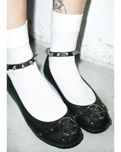 Demonia Star Studded Ankle Strap Flats | Dolls Kill