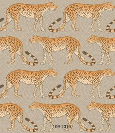 This eye-catching Leopard Walk Wallpaper is a simple yet striking design which forms part of Cole & Son's Ardmore Collection. It features leopards marching left and right across this wallpaper